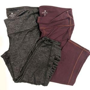 2 Athleta Cropped Leggings Gray and Purple Medium